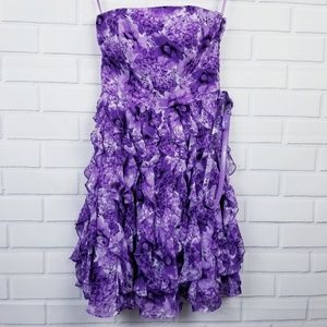 EUC WHBM Purple Floral Chiffon Strapless Dress